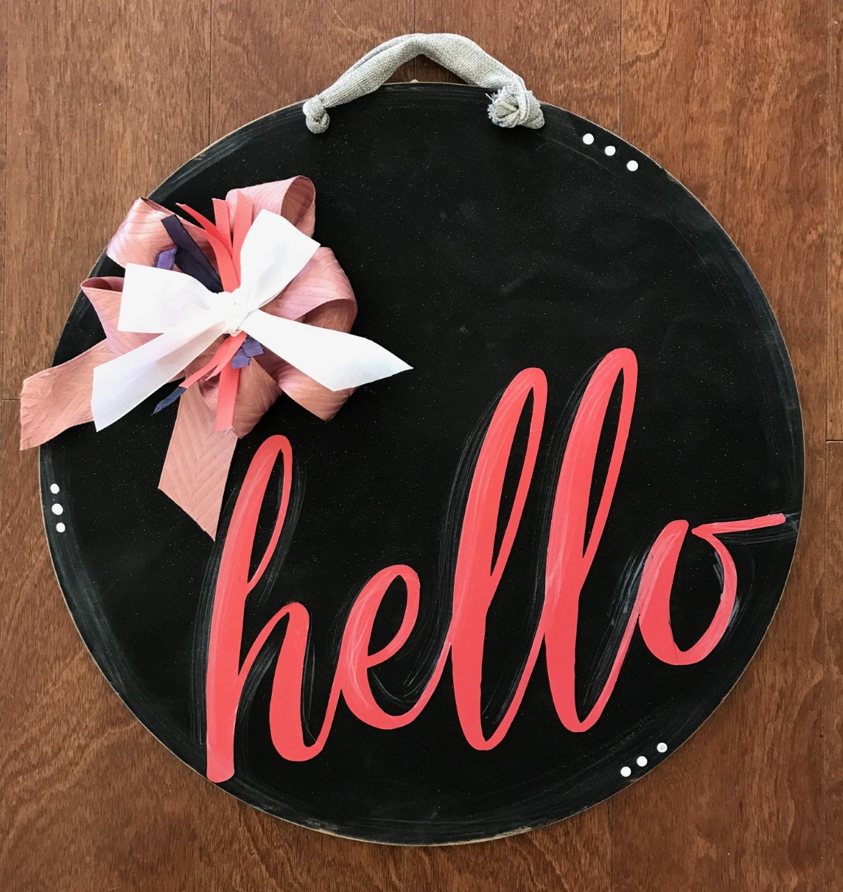 Coral Hello Door Hanger